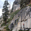 """Climbers on """"Fingers In The Till"""" (5.12a), Olmsted Canyon"""