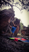 Rock Climbing Photo: First move to the pinch on Quantum Entanglement.