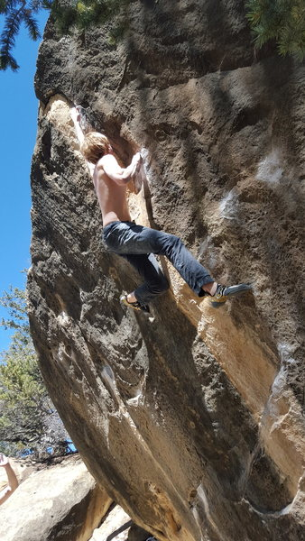 Rock Climbing Photo: Ian on Eden. Even with his height this is a big st...