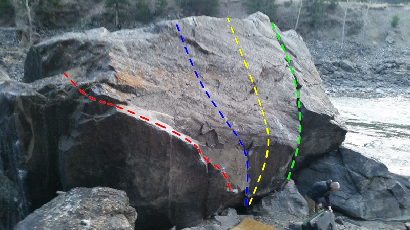 The Beach Boulder. <br> Red - The Montana Angler<br> Blue - The Mangler<br> Yellow - Feels Like Glass<br> Green - Beach Crack