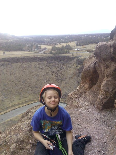 My 10yr old Vince on a multi pitch trad route at Smith Rock.