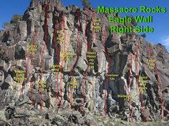 Rock Climbing Photo: Right aspect of Eagle Wall at Massacre Rocks.  Goo...