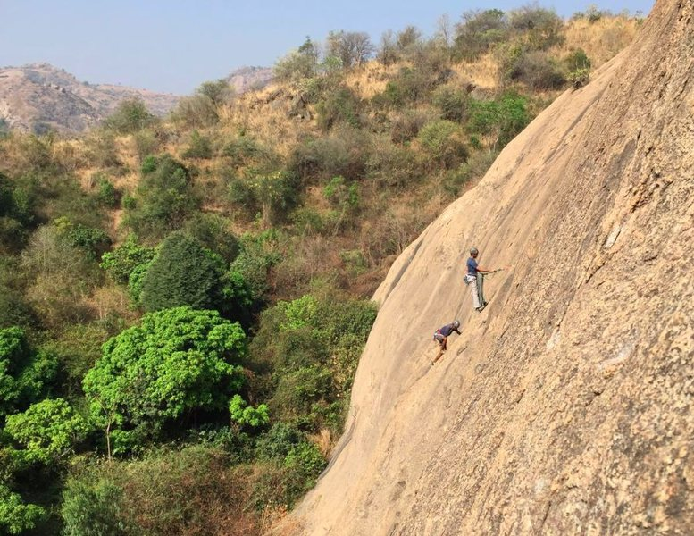 Srivats and Gokul climb High on Grass (5.9), Mother Wall.<br> <br> Photo by Bangalore Climbing Initiatives