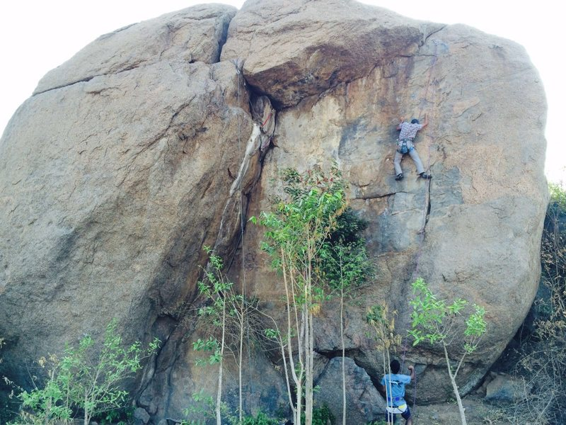 Two established lines on Elba Rock, the bolted face climb (Rapide Coup) and the roof crack above the dihedral (Back for More), both going at about 5.10.<br> <br> Photo: Bangalore Climbing Initiatives