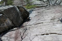 Rock Climbing Photo: 9-year old Jesse making the crux move out of the c...