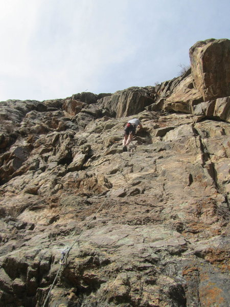 Rock Climbing Photo: Greg Hand halfway up Elephant's Child in the big h...