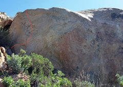 Rock Climbing Photo: Up right from the ledge into the scoop.  Exit up a...