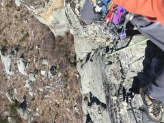 Rock Climbing Photo: Looking down shortly after climbing through the se...