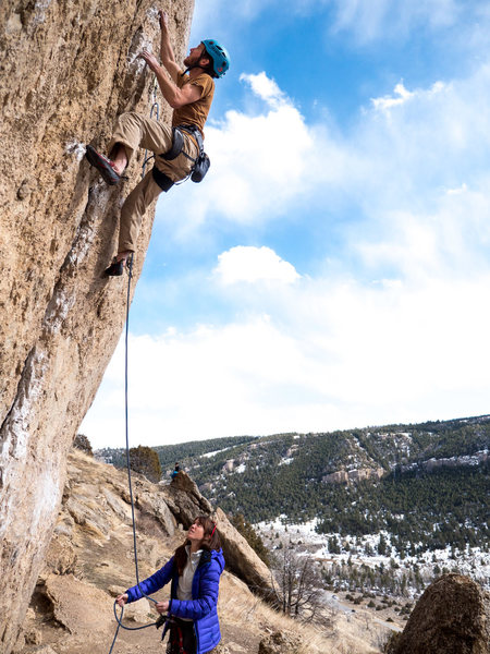Rock Climbing Photo: Zach on the steep start to his RP with Steph on be...