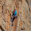 Tiny crimps at the crux of<br> The Odyssey (5.12)<br> Ian Hanna photo