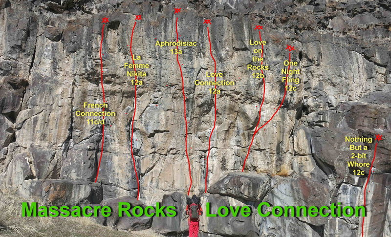 Routes on Love Connection.  There are two link up traverses that are not shown.