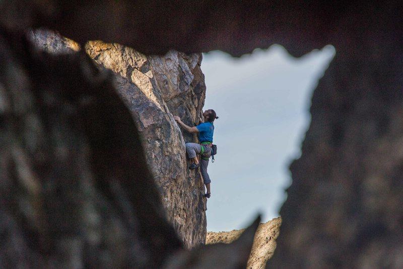 Clark Eising climbing the upper headwall of Double Kneebar Ranch, New Jack City (5.12). Photo: Aaron Cassebeer