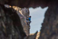 Rock Climbing Photo: Clark Eising climbing the upper headwall of Double...