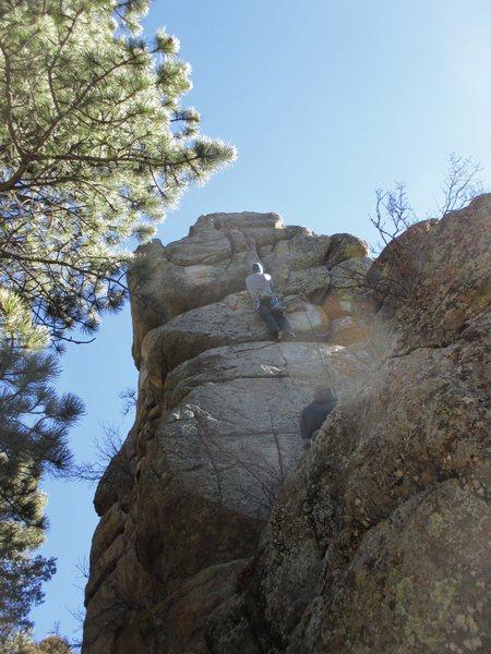 Rock Climbing Photo: Jason Haas leads the FA of Center Crack.