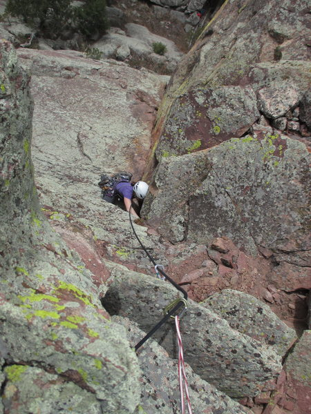 Sonia Buckley follows on the F.A. of Saddle Up and is just getting into the steeper section that holds the crux.