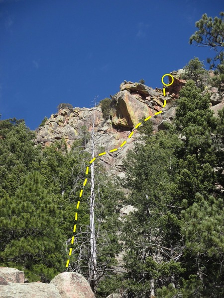 The Horse's Head can be seen looking up and South, 3/4 the way uphill on Pegasus. 'Saddle Up' (5.7) climbs up to and through on the right-facing dihedral on the East side. 'Take the Bit' (5.8) climbs up to and through on the right-facing dihedral on the East side. The cracks splitting the South-facing center overhang are the climbs 'Spread your Wings' (5.10, left) and 'Ride On' (5.10, right).