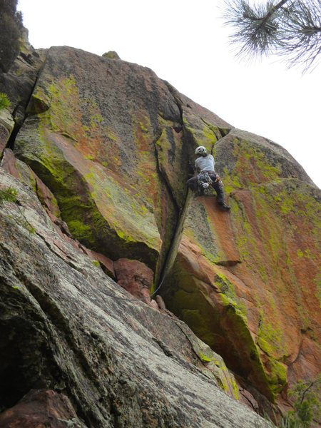 Rock Climbing Photo: Sonia places another piece of gear in the middle o...