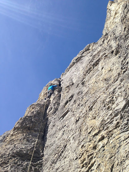 "Leading pitch 1. This pitch is shared with route ""Windy Slabs"". Good gear."