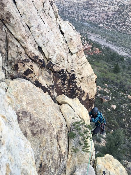 Rock Climbing Photo: Near the top. Climb the crack then traverse the Wh...