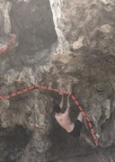 Rock Climbing Photo: Stand up and move left over the overhang and finis...