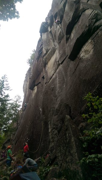 Sam Elias leading Numbah Ten, belayed by Tommy Caldwell, Alex Johnson top roping Sagittarius, belayed by Sonnie Trotter