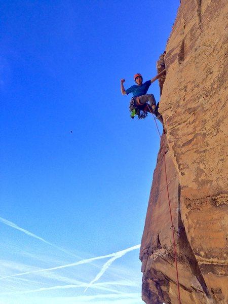 Jordan Cannon fires the beautiful crux splitter pitch of Triassic!!!