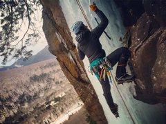 Rock Climbing Photo: Following Pegasus Rock Finish at Frankenstein, NH.