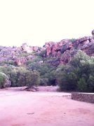 Rock Climbing Photo: Looking up at the Roadkill Cafe area from the camp...
