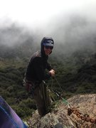 Rock Climbing Photo: Setting up a top belay on a stormy day