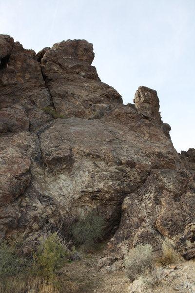 Bedrock wall and belay area