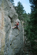Rock Climbing Photo: Steve Monks moving up and right, high on the route...