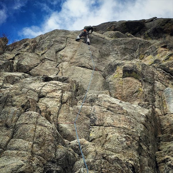 Gino past the crux.