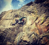 Rock Climbing Photo: Approaching the bolt/crux.