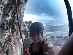 Rock Climbing Photo: Finishing the climb in torrential rain at Batu Cav...