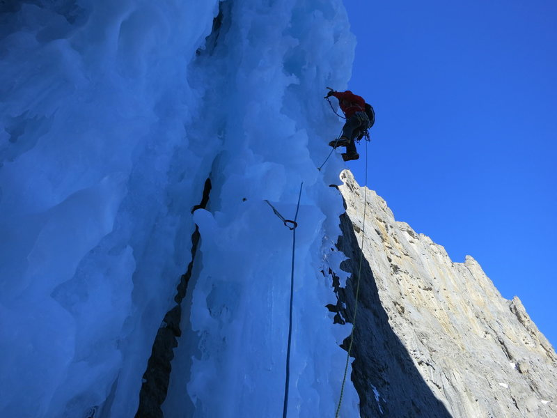 2nd pitch, wild ice features! Photo: Jon Jugenheimer
