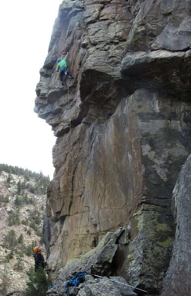 "Iron Buttress, with a climber on ""Good Time To Be Pretty""."
