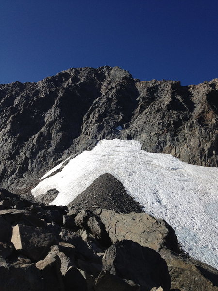 The snowfield after the Ritter-Banner Saddle.  Route goes up the central chute at the highest point of snowfield.