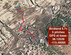 Rock Climbing Photo: Birdland route from above, with GPS coordinates.