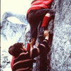 """Another way- George Meyers (later to found Chockstone Press and some climbers credit him with popularizing, if not inventing, the """"route topo"""") gets a helping hand from Andy Cox and an unknown 2nd climber. circa 1969-70"""