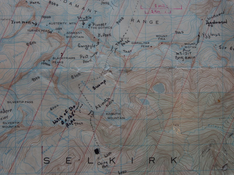 Map 2 of 3 (Adamant Glacier Area)<br> Red parallel lines are magnetic north lines.