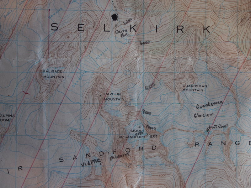 "Map 3 of 3 (Southern ""Adamants"": Cairn Cabin & Mt Sir Sandford) [Red parallel lines are magnetic north lines, scale ios given on map#2]"