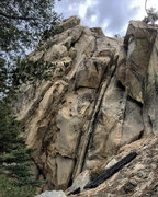 Rock Climbing Photo: Follow dark rightward trending crack up into cave,...