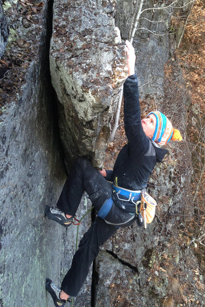 Rock Climbing Photo: reaching to the top out from the last kneebar