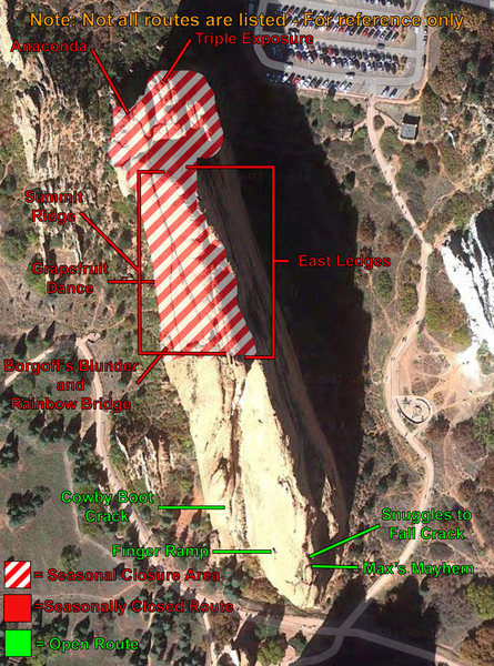 Rock Climbing Photo: North Gateway closure map.