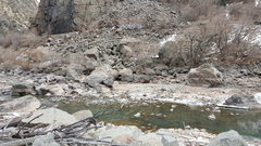 Rock Climbing Photo: Downstream Cluster looking upriver.