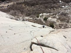 Rock Climbing Photo: Looking down pitch 3 of schoolroom