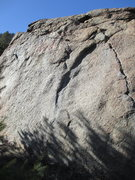 Rock Climbing Photo: The problem goes directly up from the shady sidepu...