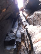Rock Climbing Photo: Looking up the chimney of pitch 3