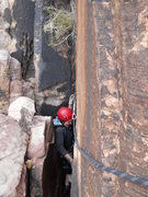 Rock Climbing Photo: In the tight squeeze chimney at the top of pitch 3