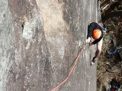 Rock Climbing Photo: Kyle pulling the P-1 crux